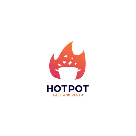 Hot cooking pot spicy cuisine restaurant food logo icon symbol with flame fire illustration 일러스트