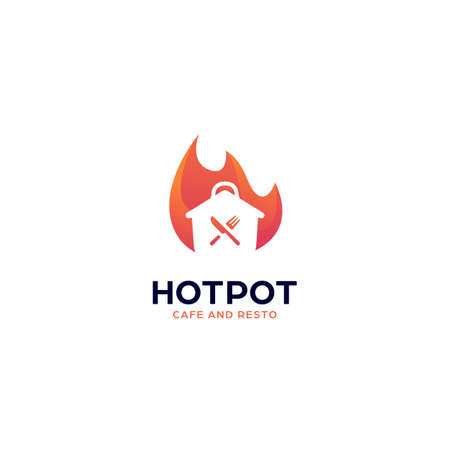 Hot spicy cooking pot logo for cafe, restaurant, or catering with fire flame icon vector illustration