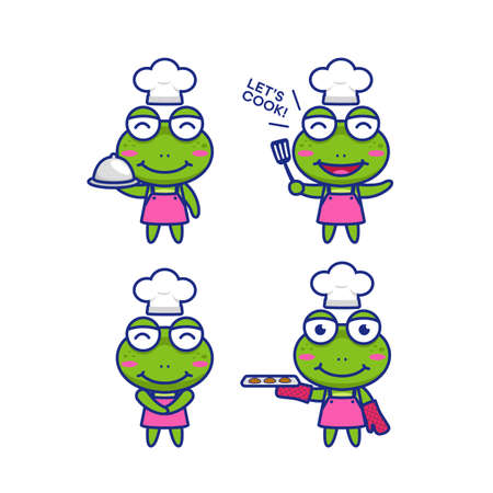 Cute chibi frog chef cartoon character mascot vector illustration set 일러스트