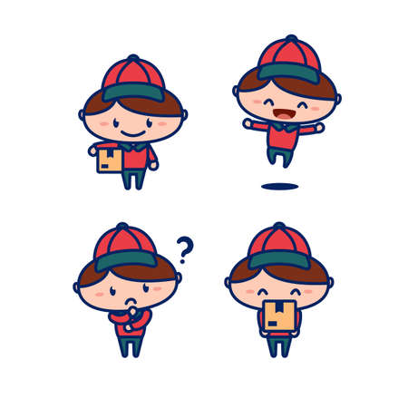 Cute courier delivery postman carry package cartoon character mascot vector illustration children style