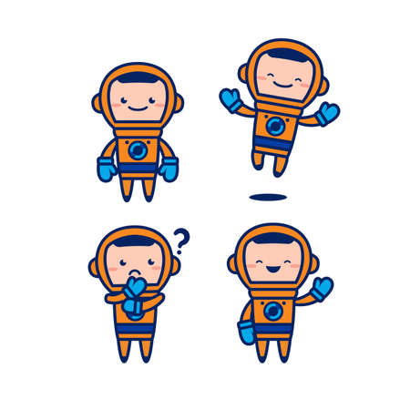 astronaut cosmonaut cute cartoon character vector mascot set with orange space suit