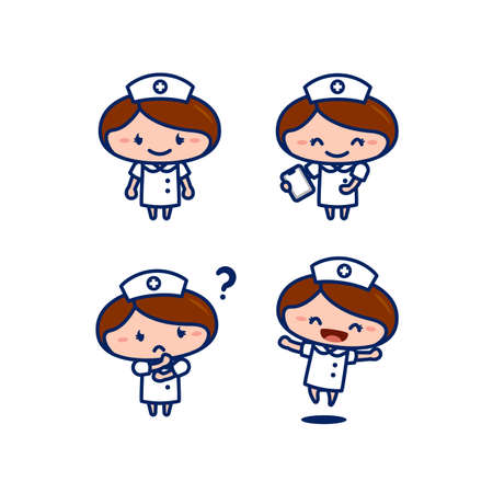 cute female nurse medical staff cartoon character in chibi style set 일러스트
