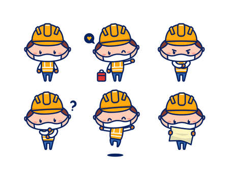 Cute construction worker character mascot with face mask protection from virus