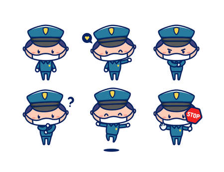 Cute police officer mascot character in chibi style wear face mask
