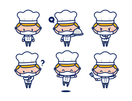 Cute male chef character mascot set wear face mask new normal 스톡 콘텐츠 - 151355416