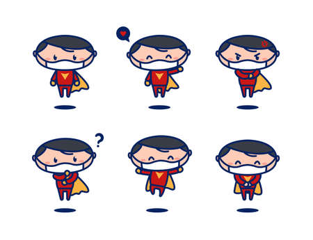 Cute flying super hero cartoon mascot pose set