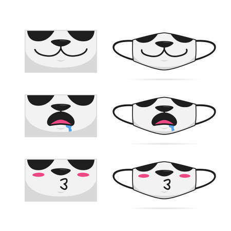 Cute panda animal cartoon mouth face mask set design vector illustration 일러스트