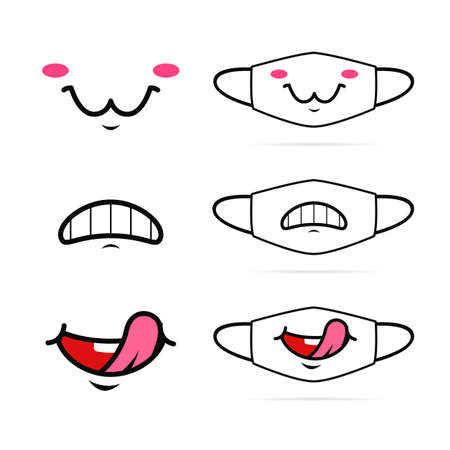 Funny cartoon mouth smile expression face mask design illustration set