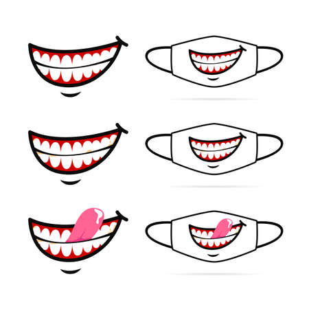 Funny evil smile with show teeth cartoon face mask design set