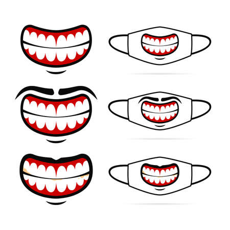 Big evil funny smile with teeth vector face mask graphic illustration design set 일러스트
