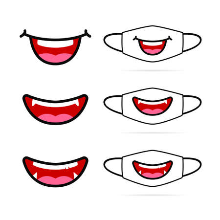 Cute chuby funny smile face mask in cartoon illustration graphic style design
