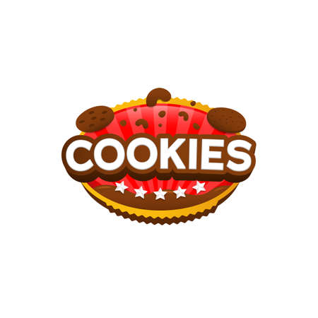 Snack chocolate cookies logo icon badge vector creative design Ilustracja