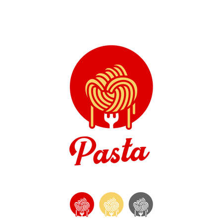 Spaghetti fist pasta ramen noodle logo in hand punch fist shape icon symbol of freedom power fighter spirit