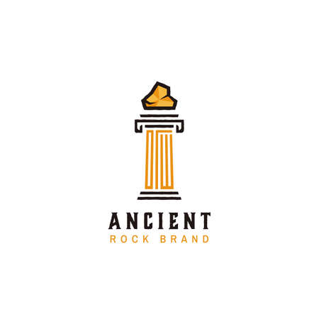 Ancient classic greek egypt rock marble pillar logo icon symbol in rough vector style
