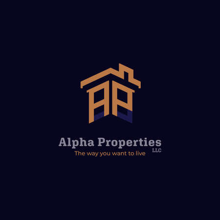 Property real estate company logo with house roof and window icon shape as initial alphabet word symbol