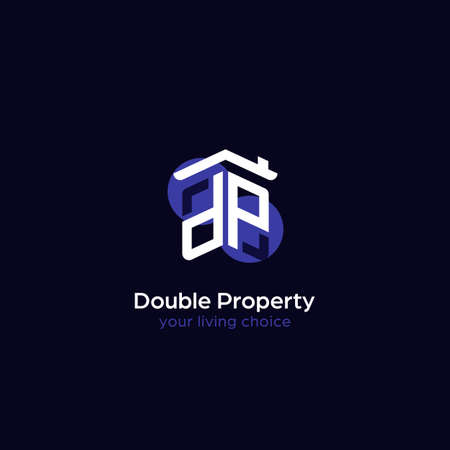 Property real estate company logo with house roof and window icon shape as initial DP alphabet word symbol mark
