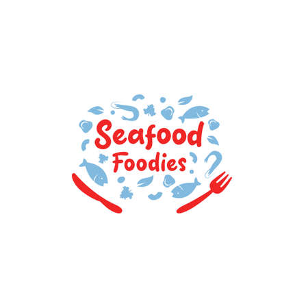 Seafood foodies restaurant catering gourmet icon symbol with fish shrimp mushroom vector illustration Ilustracja