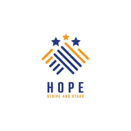 Stripe and stars in hand shape hope symbol icon logo Ilustracja