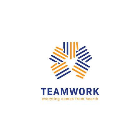 stripe hand teamwork together logo icon symbol vector