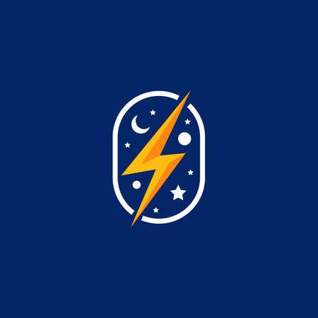 lightning energy electric power logo on cosmic night sky galaxy illustration icon symbol Ilustracja
