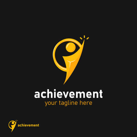 achievement people visionary leader reach high target, reaching star vision logo icon symbol in gold color
