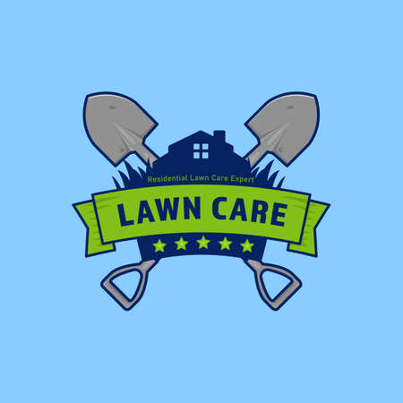 Gardening lawn care badge with shield and shovel Ilustracja