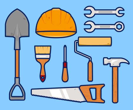 handyman maintenance repair project engineer worker tools illustration vector set Ilustracja