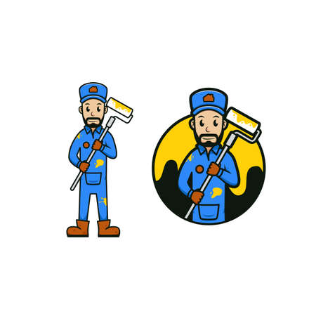 Paint and Repair worker mascot cartoon icon vector illustration