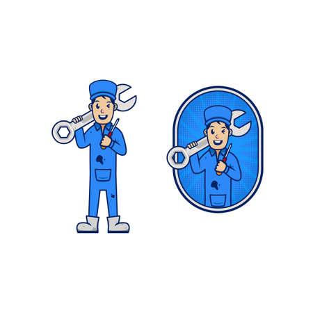 Mechanic repairman mascot icon character cartoon for business carry wrench and screwdriver
