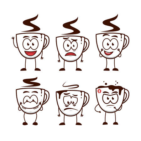 Coffee cup man vector cartoon funny character mascot illustration expression set Ilustracja