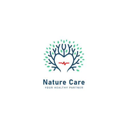 Nature care health herbal  for clininc care with plant tree in heart shape with pulse icon  illustration