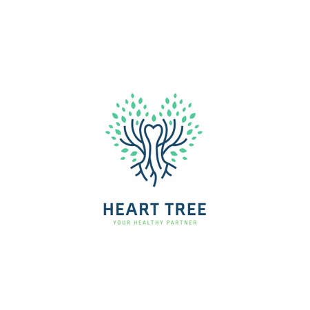 Heart tree health care  with tree roots branch and leaf in heart shape icon symbol illustration Ilustracja