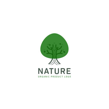 Green nature rounded simple tree logo icon symbol vector design