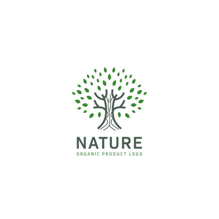 Nature green tree logo icon for nature based product or company vector design Ilustracja