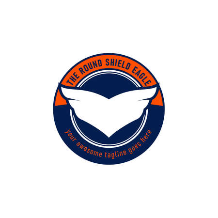 Eagle wing in round shape emblem logo icon vector