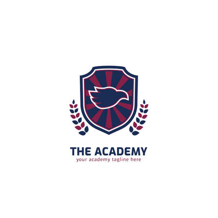 Academy logo with eagle head mascot silhouette inside shield vector emblem badge