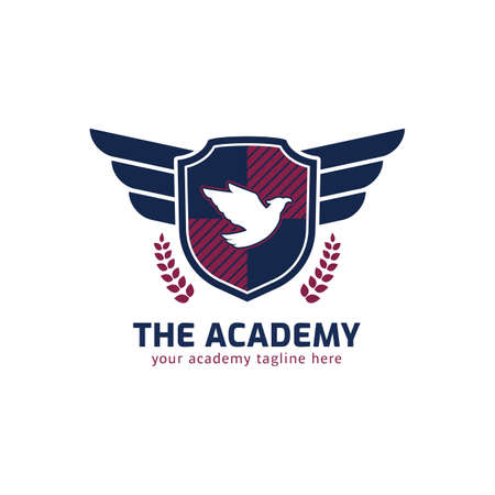 Academy logo with flying eagle wing and shield shape icon symbol vector