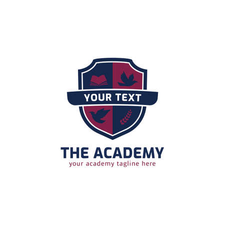 Academy school course logo with shield, eagle, wreath, and book icon symbol badge vector