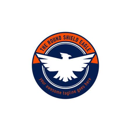 Eagle emblem logo in round shape shield icon symbol vector Ilustracja