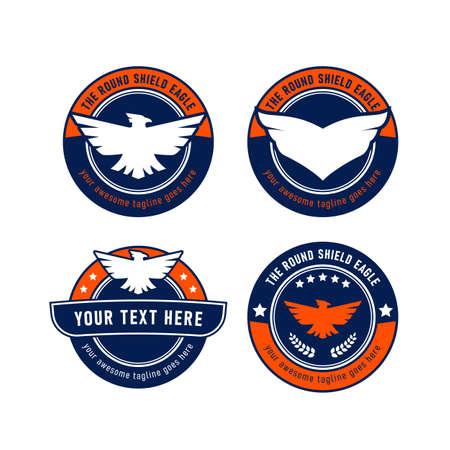 Eagle round shield logo set vector emblem symbol
