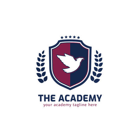 Shield academy logo with flying eagle, wreath, and stars vector symbol badge emblem Ilustracja