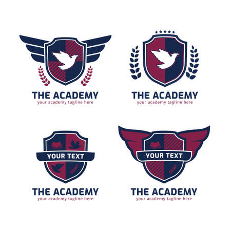 The academy logo set in shield shape with wings of eagle Ilustracja