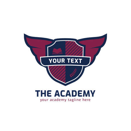 School academy course shield logo emblem with eagle wing and book vector illustration badge