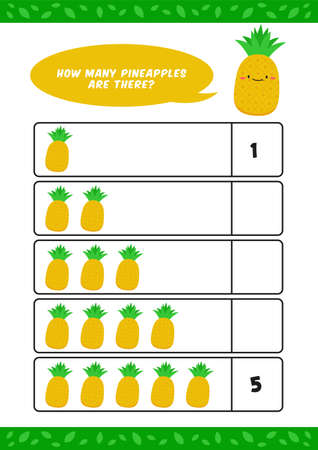 Child kids kindergarten homeschooling counting learn worksheet with cute pineapple fruit illustration vector template
