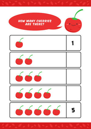 Child kids kindergarten homeschooling counting learn worksheet with cute cherry fruit illustration vector template