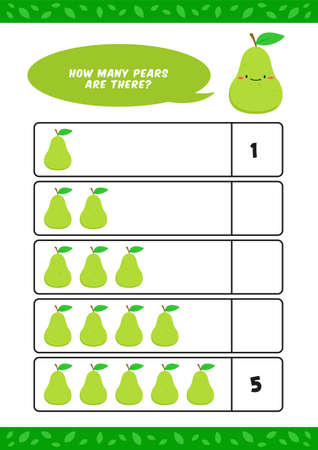 Child kids kindergarten homeschooling counting learn worksheet with cute pear fruit illustration vector template