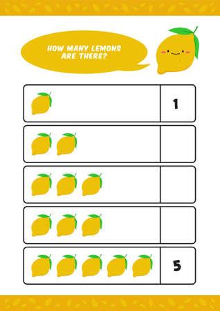 Child kids kindergarten worksheet with cute lemon fruit illustration for counting learn homeschooling vector template