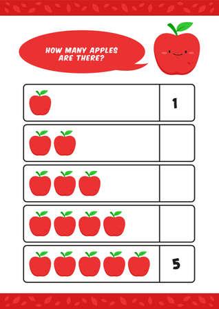 Child kids kindergarten homeschooling counting learn worksheet with cute apple fruit illustration vector template Ilustracja