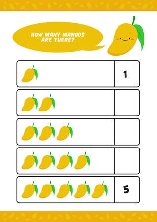 Child kids kindergarten worksheet for counting learn vector template with cute mango fruit illustration good for homeschooling Ilustracja