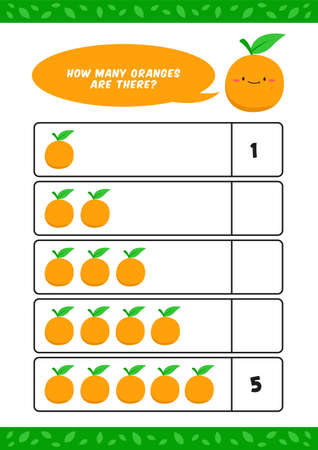 Child kids kindergarten counting learn worksheet vector template with orange fruit illustration